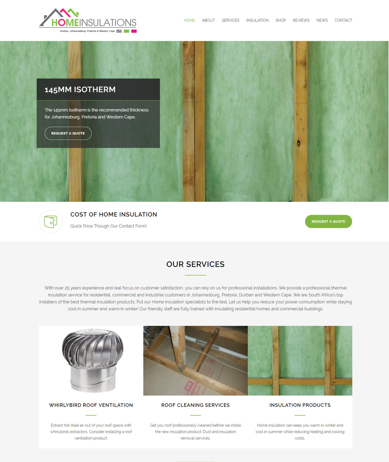 Home Insulationa Website Design