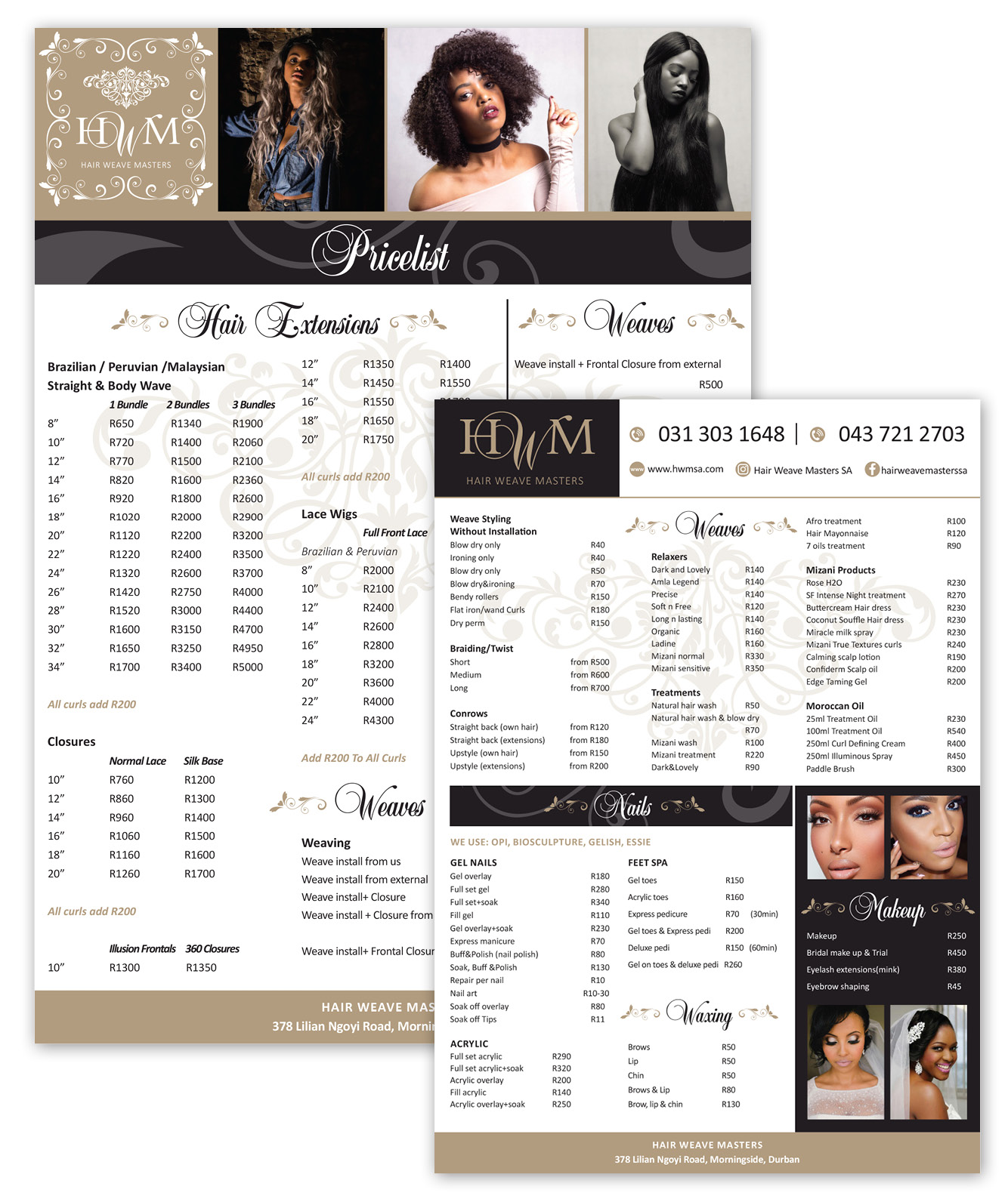 Hair Weave Masters Pricelist