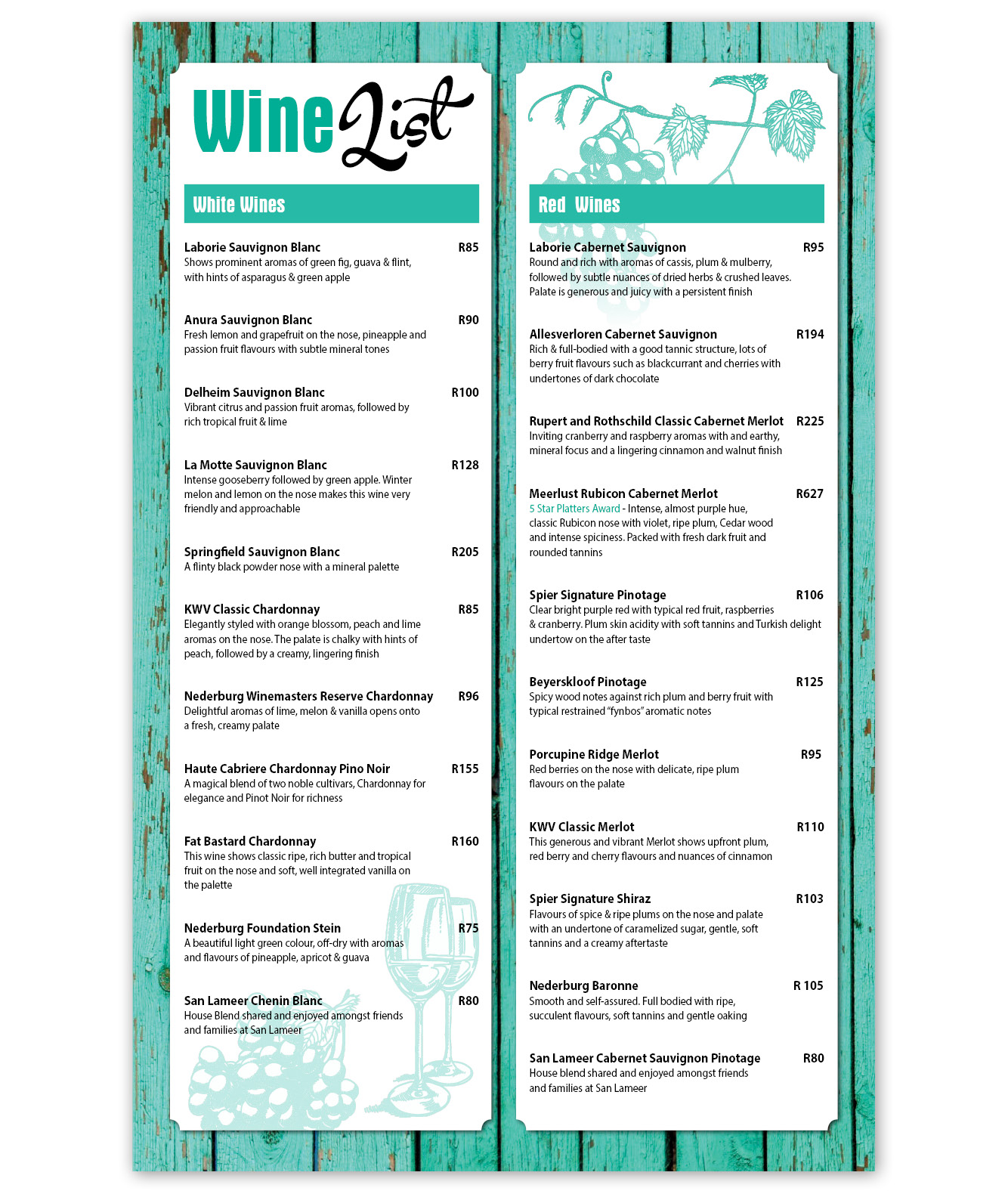 Clubhouse Wine List Menu Design