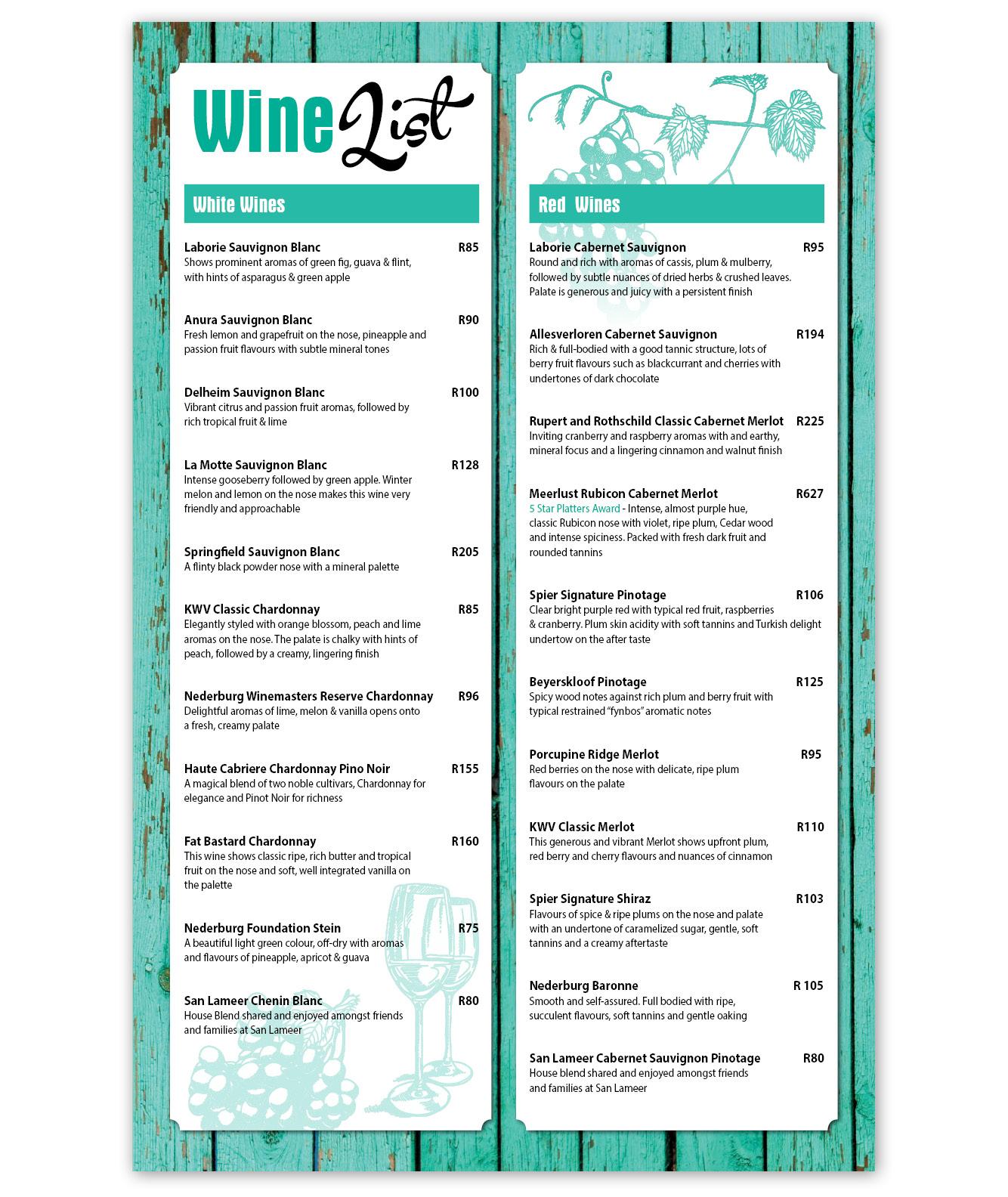 Clubhouse Wine List Menu Design