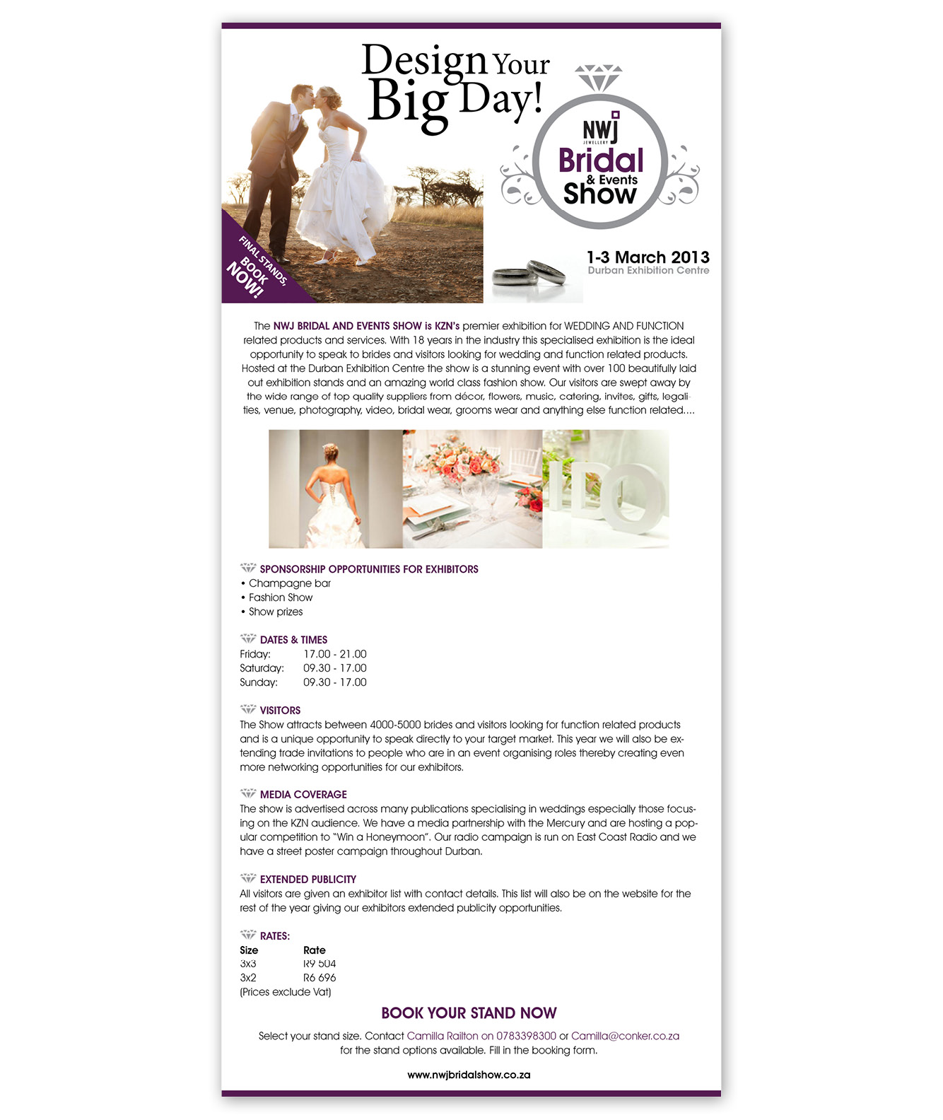 NWJ Bridal and Events Show Newsletter Design