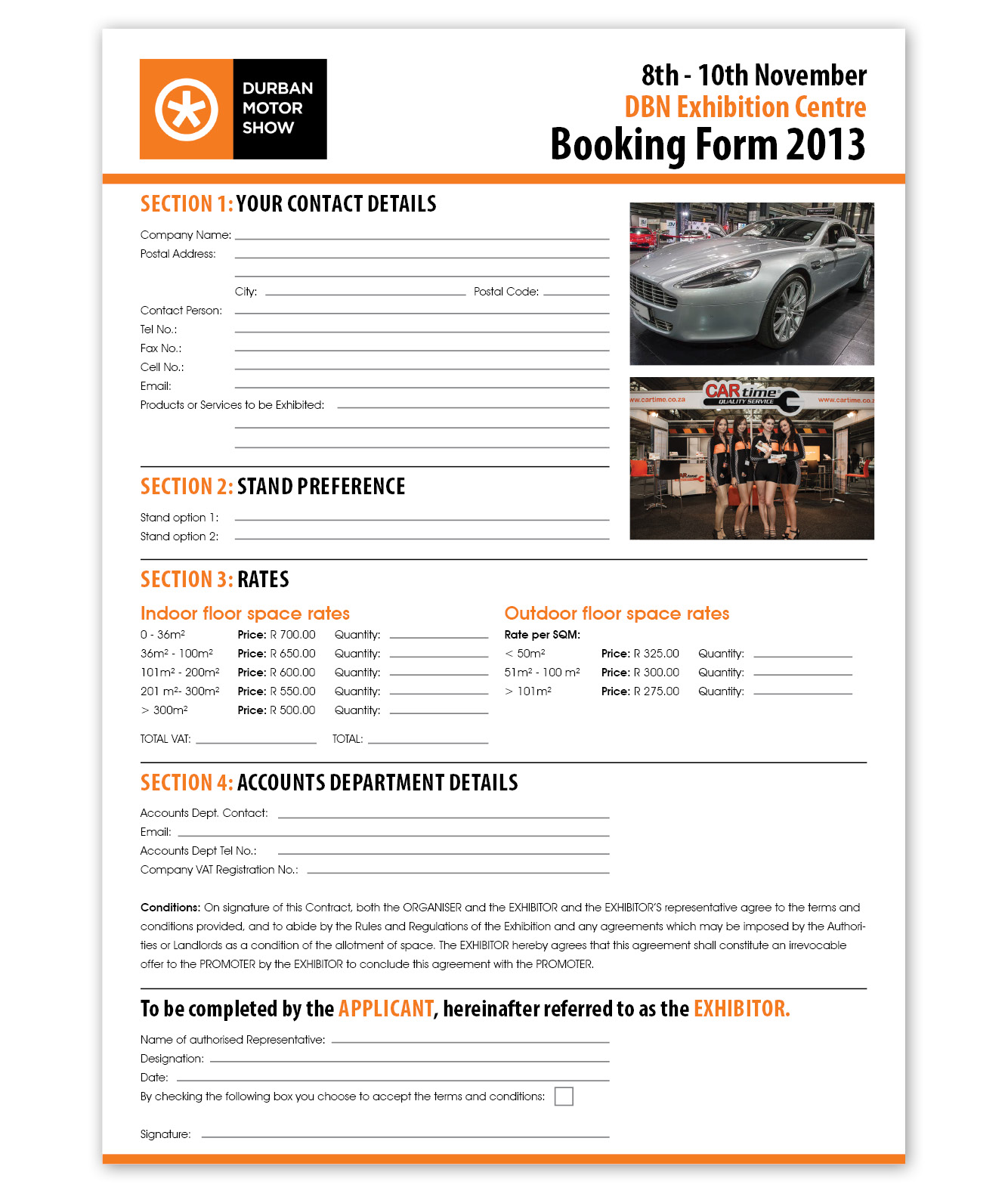 Durban Motor Show Booking Form Design